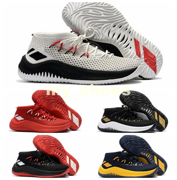 New Arrival Best D Lillard 4 Basketball Shoes Dame 4 Rip City White Black Red Un-Dyed Signature Sports For Men Brand Sneakers 7-12