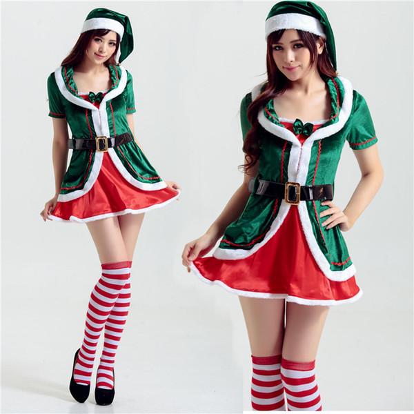 Hot Sale Women's Christmas Costume Xmas Santas Helper Candy Elf Cosplay Fancy Dress Outfit