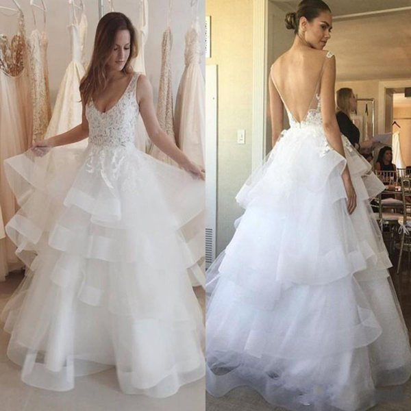 2019 Modest Sheer Lace Wedding Dresses V Neck Appliques Backless A Line Tired Skirt Boho Country Bridal Gowns Cheap Custom Made