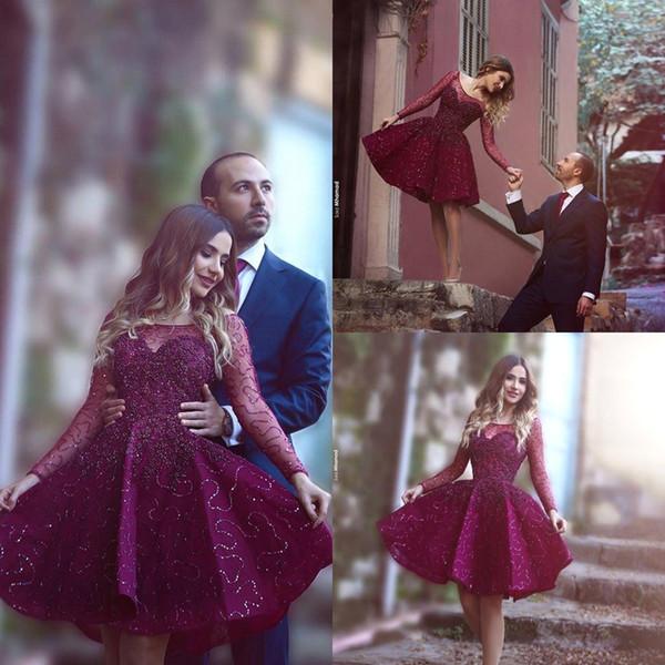 Dit Mhamad Nouvelle Collection Robes De Cocktail 2016 Sheer Scoop Manches Longues avec Perles Paillettes Mousseux Courte Mini Homecoming Robes BA1772