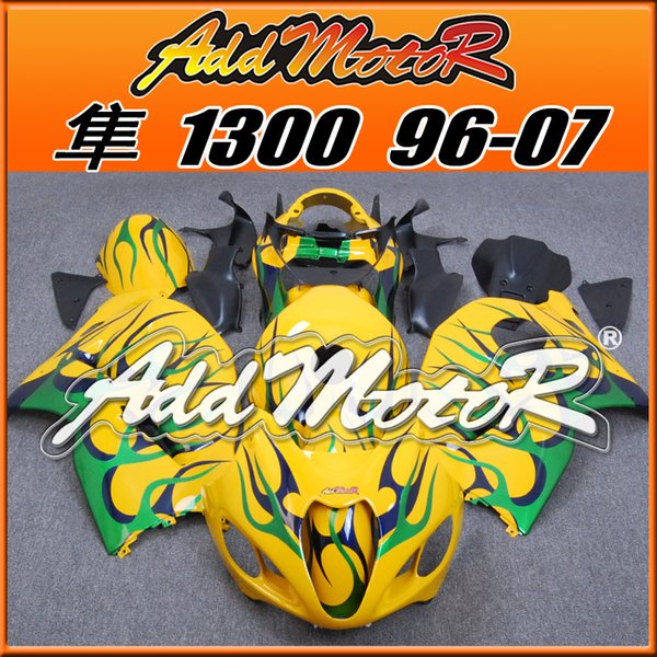 Best Selling Fairings Addmotor Injection Mold Plastic For Suzuki GSXR1300 Hayabusa 96-07 Flames Green Yellow S3647 +5 Free Gifts Best Chioce