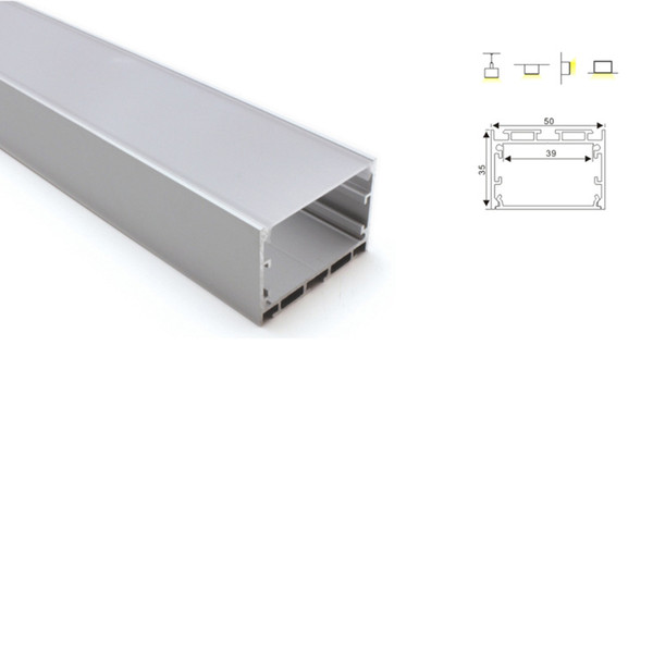50 X 1M sets/lot T3-T5 tempered led aluminium profile and Deep U shape pendant led channel for recessed wall lamp