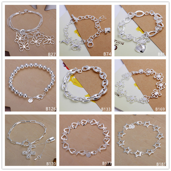 Clover heart butterfly sterling silver bracelet 8 pieces mixed style GTB10 Online for sale fashion women's 925 silver bracelet