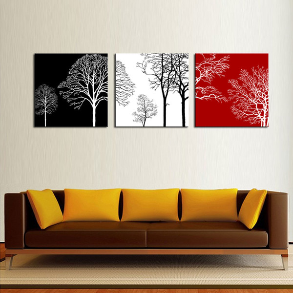 3 Panels Modern Painting Wall Art Black White and Red Tree Picture Painting on Canvas Artworks for Home living Room Decor with Wooden Framed