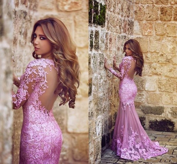 2018 New Mermaid Tulle Appliques Lace Plum Evening Dresses Sweep Train Long Sleeve Formal Party Sheer illusion Back Arabic Prom Gown 070