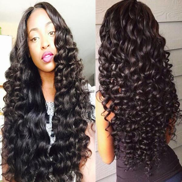 Parrucche piene del merletto Glueless ricce di modo con i capelli del bambino Parrucche dei capelli umani anteriori del merletto di densità del 180% della densità per le donne nere