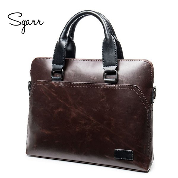 Vente en gros- SGARR Vintage Crazy Horse PU Cuir Hommes Porte-documents Business Sac à bandoulière Hommes Crossbody Laptop Bag Noir Mallette Homme