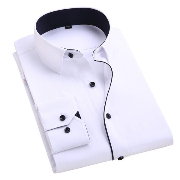 harrvey / Atacado-Verão 2016 Mens de mangas compridas White-Solid vestido de camisa de algodão mistura Business Casual clássico-ajuste Unelastic macio camis