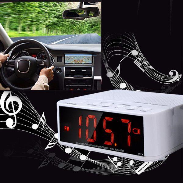 Freeshipping multifuncional bluetooth speaker mini amplificador portátil sem fio rádio fm led despertador sem fio para o telefone móvel
