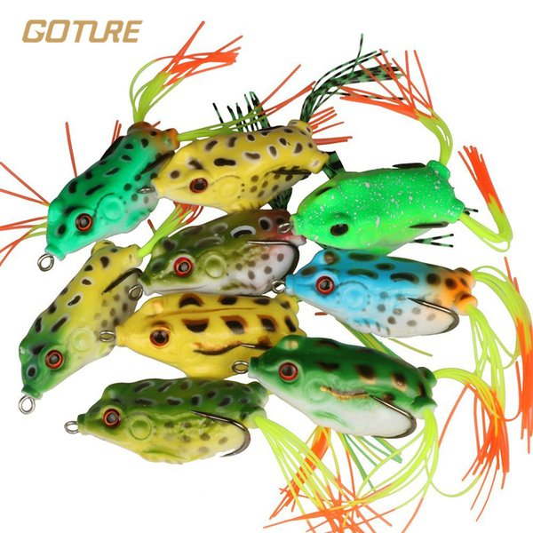 Goture 18Pcs Top Water Frog Fishing Lure Fishing Tackle 5.5Cm 12.5G Surface Floating Artificial Soft Lure for Fish Saltwater