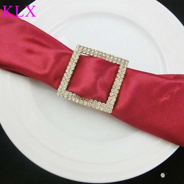 Wholesale (200pcs/lot)Gold Plating Square Two Rows Rhinestone Napkin Ring For Wedding Table Decoration ,Pre -Order