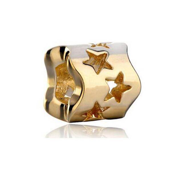 Shenzhen Factory gold plated hollow star bead big hole metal slider bead European spacer charm fit Pandora Chamilia Biagi charm bracelet