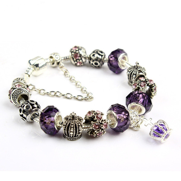 top popular 18 19 20 21CM Charm Bracelet 925 Silver Bracelets For Women Royal Crown Bracelet Purple Crystal Beads Diy Jewelry Christmas gift 2019