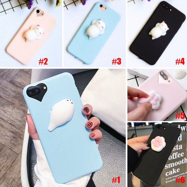 Chat Drôle 3D Cartoon Kitty Cat Téléphones Cas Silicone Squeeze Stress Soulager Squishy Soft TPU Pour Samsung s7 iphone 6s 7 8 plus