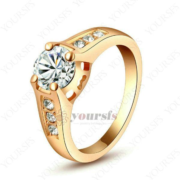 Incantevole 18 CARATI Dell'Oro Placcato 1.5 Ct Cristallo Simulazione di Nozze di Diamante Bling Ring Spedizione Gratuita R066W1