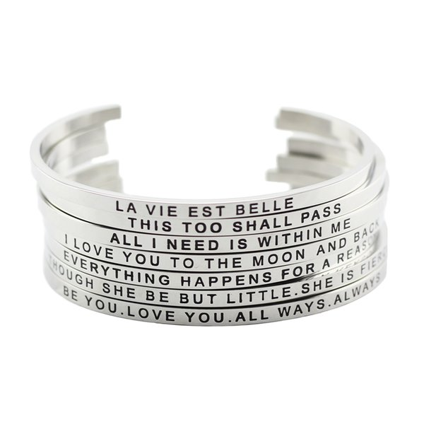 316l Stainless Steel Bangle Positive Inspirational Quote Cuff Bracelets Mantra Bracelets Bangles For Women Christmas Gift
