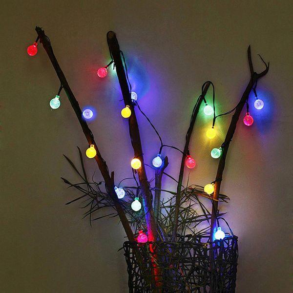30Led Crystal ball String light Solar decoration lights waterproof outdoor garden Tree fairy lighting White RGB Solar Fairy Light Strings