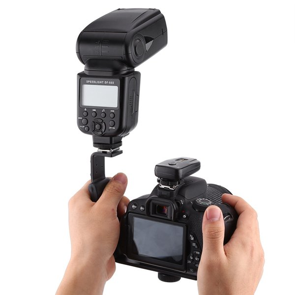 Wholesale- Photography Video Flash Camera Grip L Bracket Holder With 2 Standard Side Hot Shoe Mount DSLR Holder