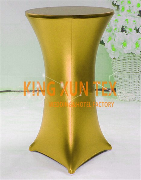 top popular Nice Looking Bronzing Coated Lycra Spandex Cocktail Table Cover \ Table Cloth For Wedding Event Decoration Free Shipping 2020