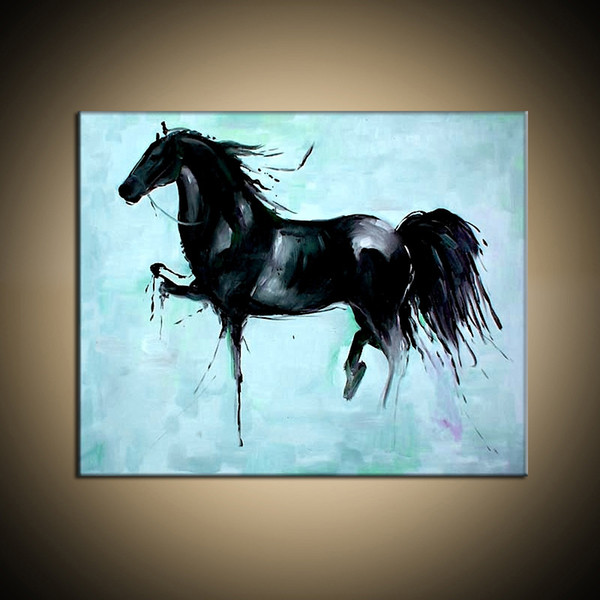 Hot Sell 100% Pure Hand Painted High Quality Modern Living Room Home Decoration Wall Art Animal Horse Oil Painting Canvas.Multi Sizes Hot01