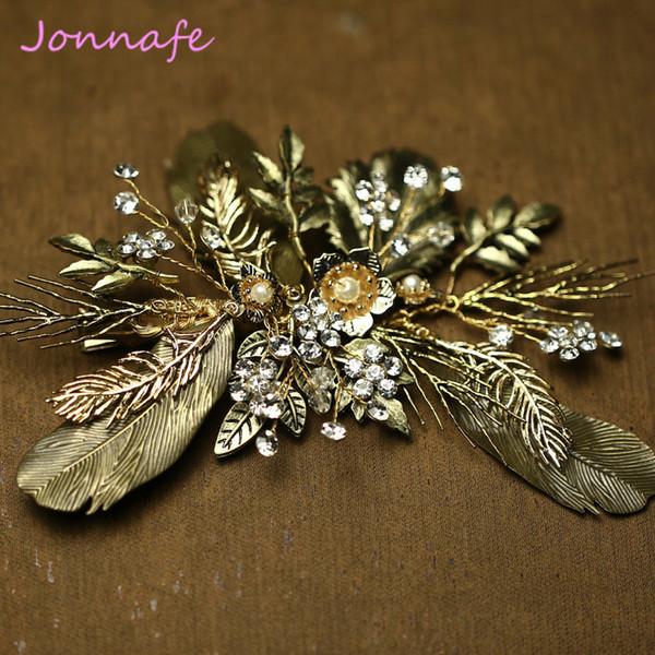 beijia Feuille Flora Bandeau Cheveux Ornements Pince À Cheveux De Mariée Accessoires De Mariage Vintage Femmes Bijoux Headpieces