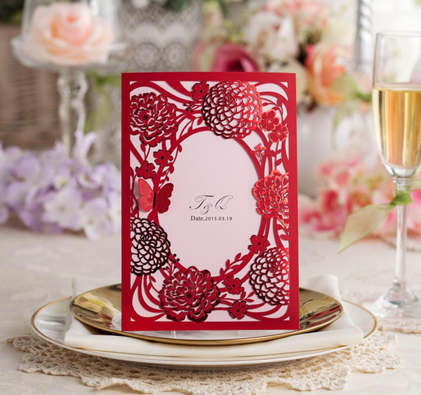 Personalized Wedding Inviataions Cards Laser Cut Hollow Red Wedding Invitation Cards European Style With Butterfly Free Shipping
