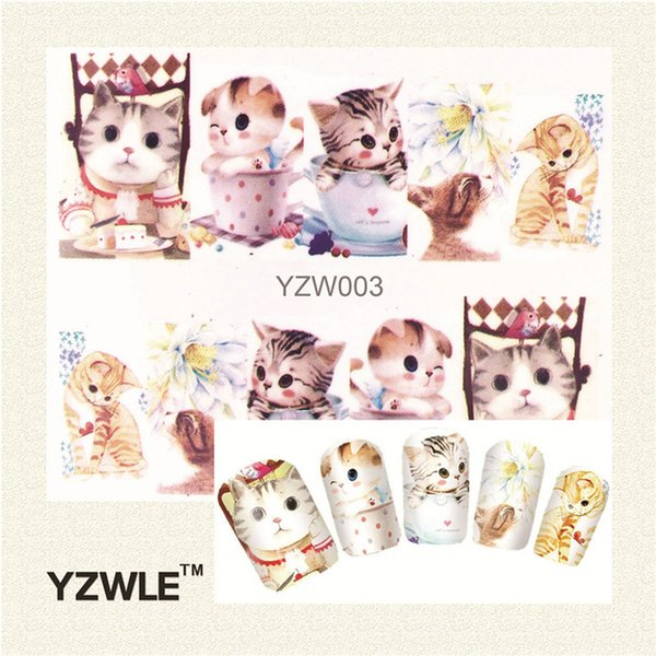 Wholesale- YZWLE 1 Sheet Cute Cat Nail Art Water Decals Transfer Stickers, Manicure Decor Tool Cover Nail Wrap Decal(YZW-003)