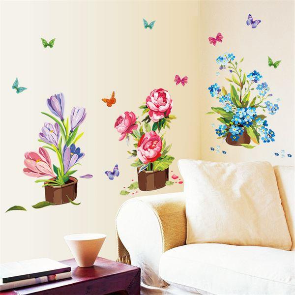 DIY House Decor Beautiful Flower Pots Butterflies Wall Stickers Art Decals Vase Window Glass Home Decoration hogar pegatinas de pared