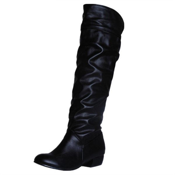 fashion hot sale new arrive women boots black white brown low heel knee boots slip on autumn winter ladies high boots