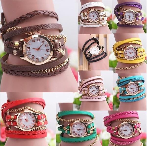 New Arrival 10 Color Women's Casual Vintage Multilayer Wristwatch Weave Wrap Rivet Leather Bracelet Wrist Watch