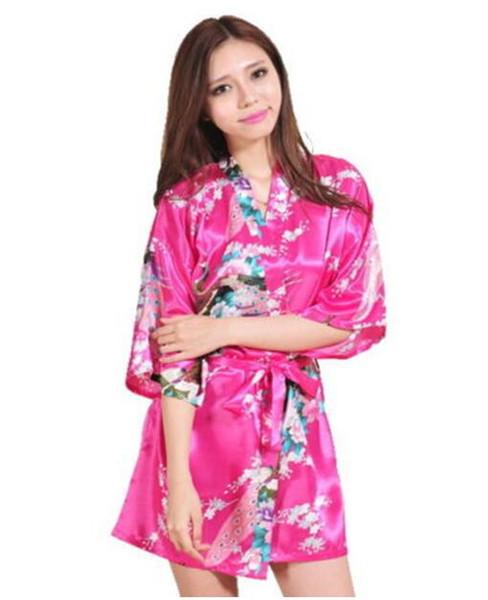 Donne sexy Raso di seta Camicia da notte Damigella d'onore Kimono Robe Pigiama Vestaglie Accappatoio Sleepwear Breve Cardigan Vestaglia