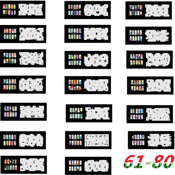2017 Nueva Llegada 20 Psc Airbrush Nail Stencil Sheets Diseño Arte Pintura Páginas 61-80 Envío Gratis