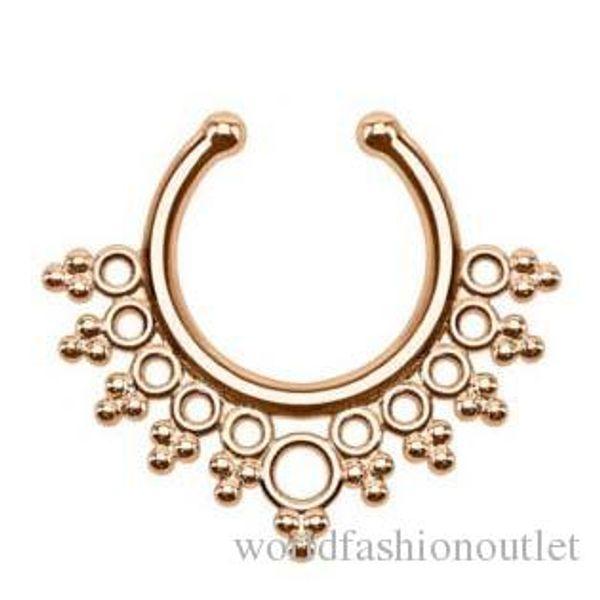 new Clip-on Nose Rings Studs fake nose ring Unisex Punk Non Piercing Fake Nose Ring Stud Hoop 18k Gold Fake Septum Indian Piercing Drop Ship