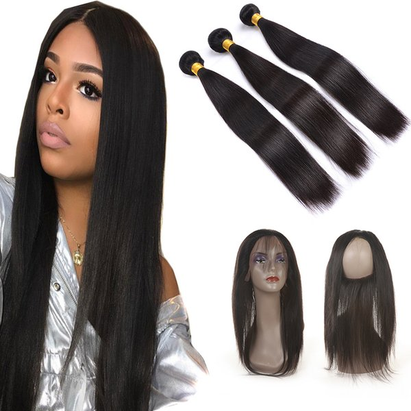 Brazilian Bundles with Closure Hair Straight Weave 8A Hair Pre Plucked 360 Frontal with Bundles Ear to Ear 360 Lace Frontal Closure