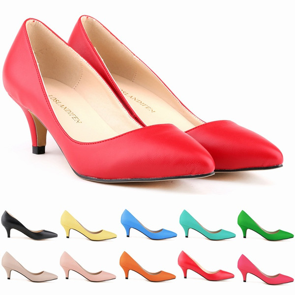 11 Colours Sexy Pointed Toe Middle High Heels Shoes Women Work Pumps New Brand Design Less Platform Pumps D0056