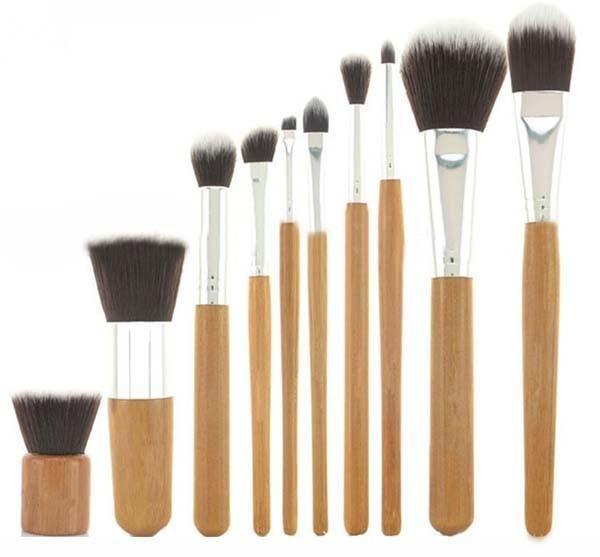 Hot Selling 10PCS Pro Cosmetic Brush Set Synthetic Makeup Brushes Kit Bamboo Handle Make Up Toiletries Brush Tools