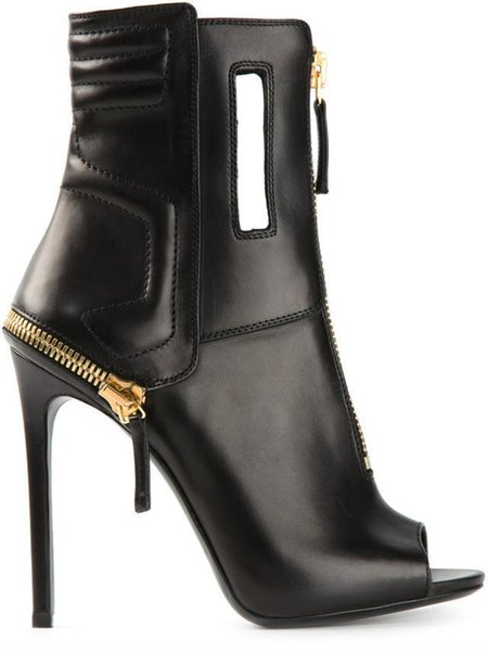 Sexy Black Soft Leather Open Toe Booties Spring Autumn Women Boots Ankle Punk Style Zipper Decor Gladiator High Heel Short Boots