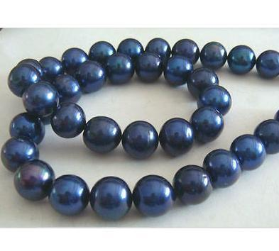 Hot 10-11mm tahitian black blue pearl necklace necklace 18inch 14k chiusura in oro