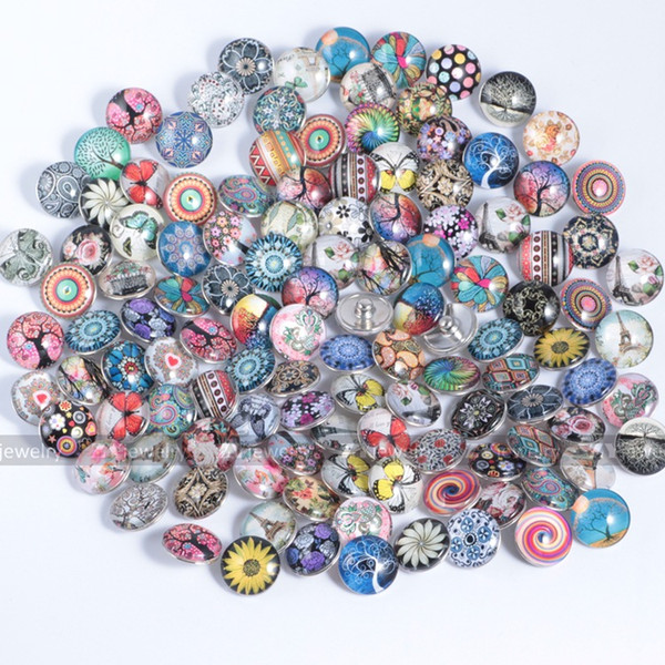 best selling Mixed Styles 18mm noosa Glass Button Ginger Snaps DIY Bracelet Necklace Snaps Jewelry accessory noosa Chunk Snap Button