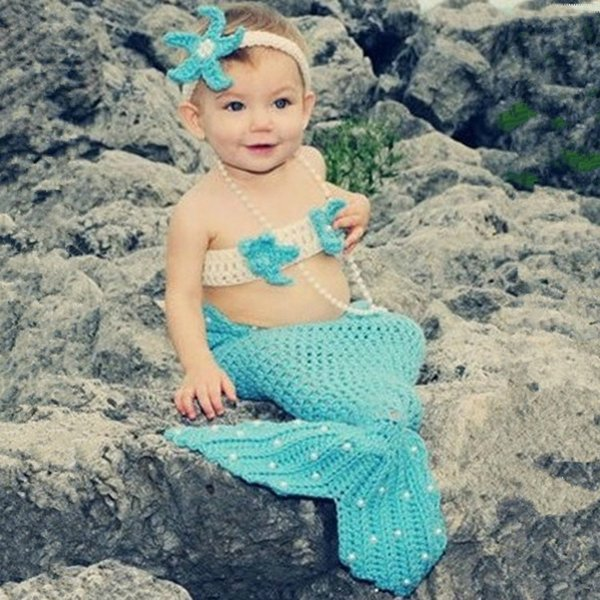 Light Blue Mermaid Newborn Baby Photo Photography Props Infant Handmade Outfits Crochet Knit Cocoon Set Knitted Bebe Costume