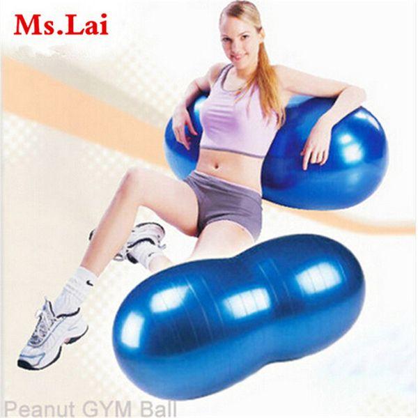 Бесплатная доставка новых горячих 90 * 45 см спортивный фитнес тренажерный зал упражнения йога мяч пилатес взрывозащищенные формы арахиса прочный