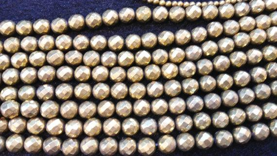 2strands 4-12mm Pyrite bead gold plated high quality Raw pyrite crystal round ball faceted iron stone For Necklace Gemstone Loose beads