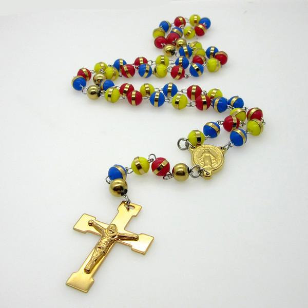 Ciondolo per uomo Ciondoli per collane Ciondoli perline multicolor Collana per ciondolo Gesù in acciaio inossidabile per donna