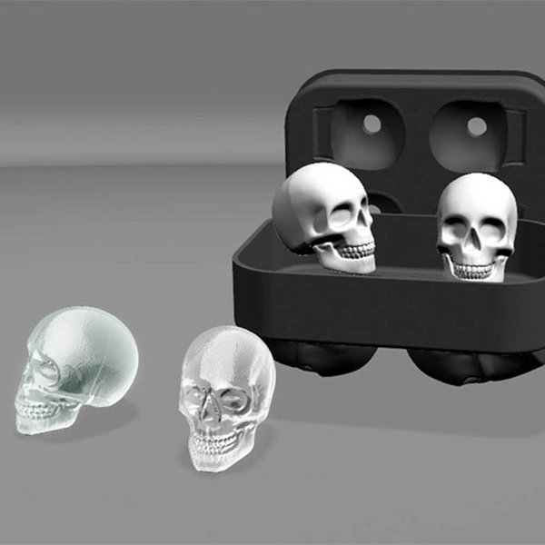 5pcs New Design 3D Skull Silicone Ice Mold Cool Whiskey Wine Cocktail Ice Cube Tray Maker Home Kitchen Ice Cram Mould DIY Tools