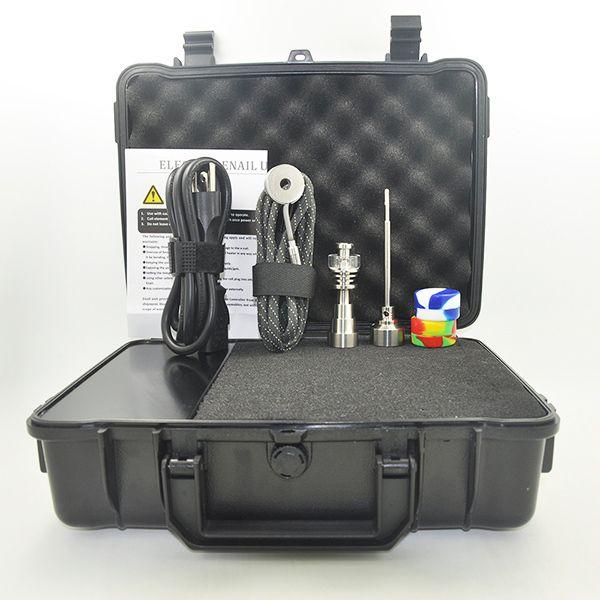 Cheap Nail Electric dab nail controller wax PID TC box with Titanium 10 16 20 mm domeless with quartz nail &carp cap