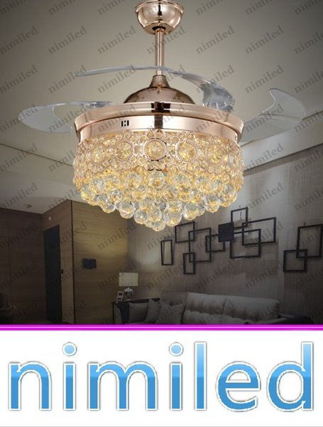 "best selling nimi843 36"" 42"" Crystal Invisible Ceiling Fan Light Lights Living Room Lighting LED Chandelier Remote Control Mute Pendant Lamp"