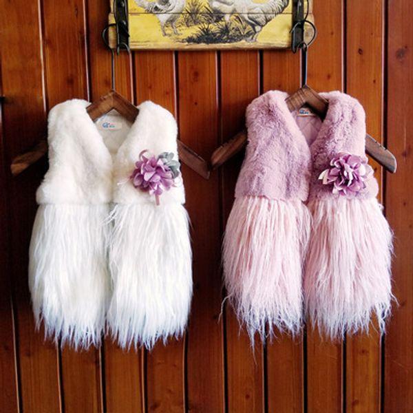 Ins Hot European Fashion Bambini Floreale Outwear 2-6 Anni Neonate Autunno Inverno Peluche Spessa Cappotto Abbigliamento per bambini all'ingrosso