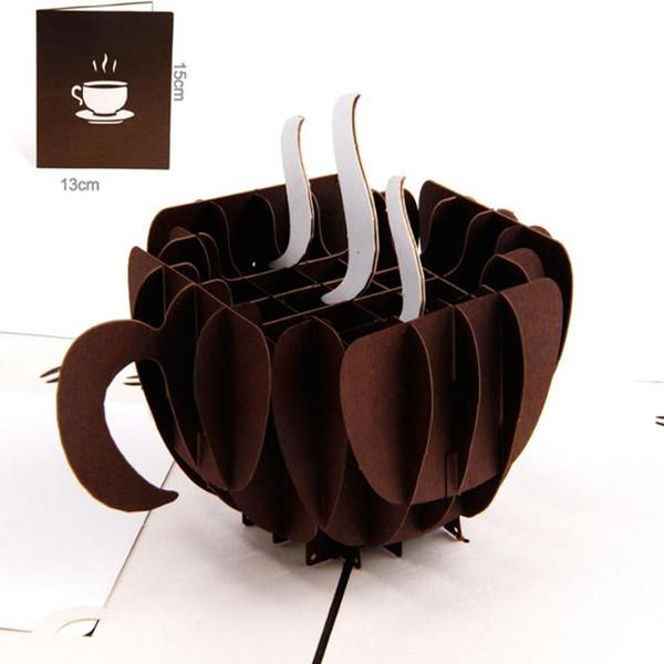 10pcs / lot Carta di invito taglio laser a mano 3D Pop-Up Card Cubic Coffee Cup biglietti d'auguri aziendali