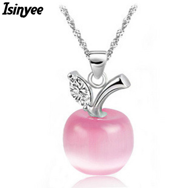 Wholesale- ISINYEE fashion cute crystal apple pendant silver chain fruit necklace for women girls elegant jewelry collier bijoux cristal