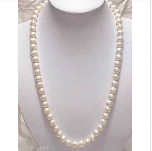 HOT SELL 20 INCH 9-10mm Genuine white akoya pearl necklace14K Gold Clasp